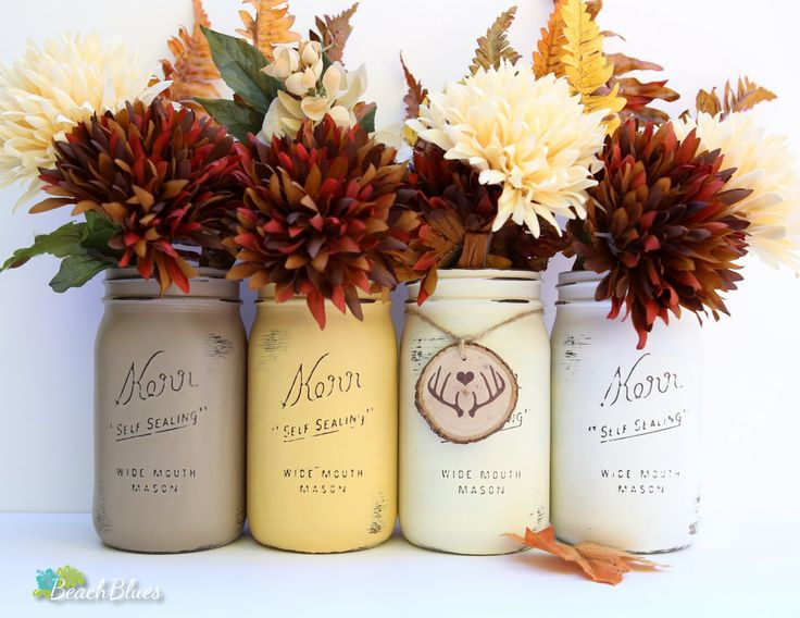 Where to Buy 2015 Thanksgiving Autumn Sunset Painted and Distressed Mason Jars - 2015 Thanksgiving Decor, home decor, mason jar