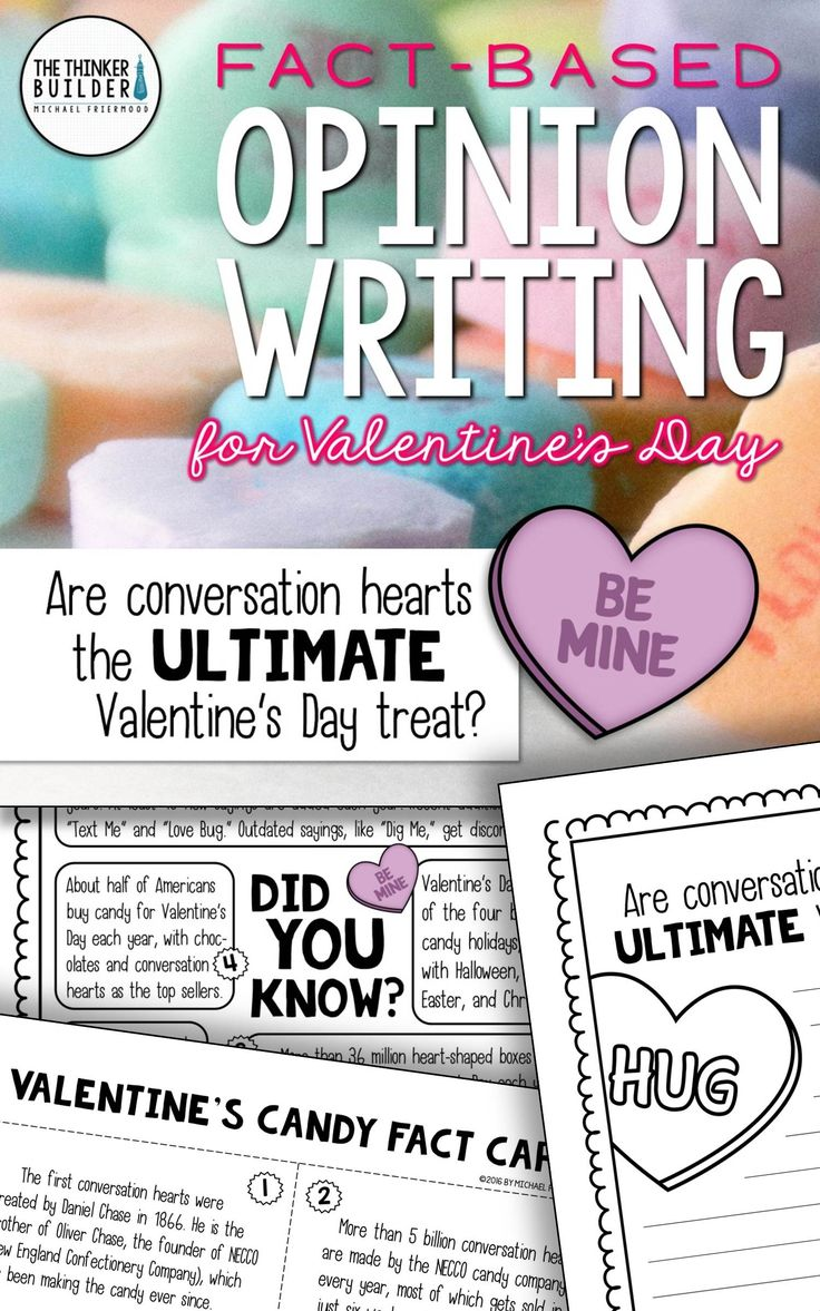 Opinion Writing for Valentine's Day, with carefully chosen facts included for students to analyze, discuss, and use to support their opinion to an engaging focus question: Are conversation hearts the ultimate Valentine's Day treat? Gr 2-5 ($)