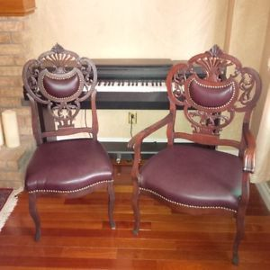 King and Queen ornate leather chairs Oakville / Halton Region Toronto (GTA) image 1