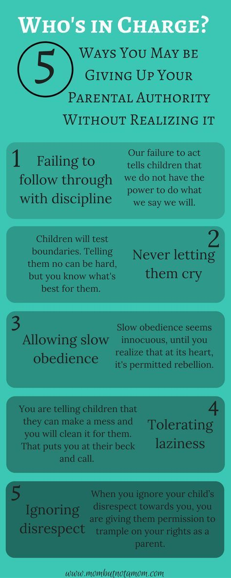 Who's in Charge? 5 way you may be compromising your own authority as a parent. Infographic linked to full post. | Mom but not a Mom: