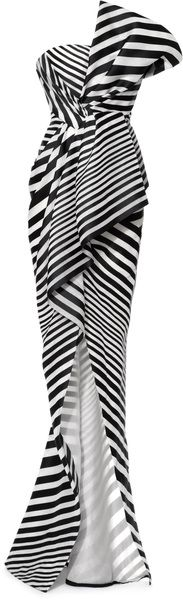 J. Mendel Linear Organza Strapless Bustier Gown