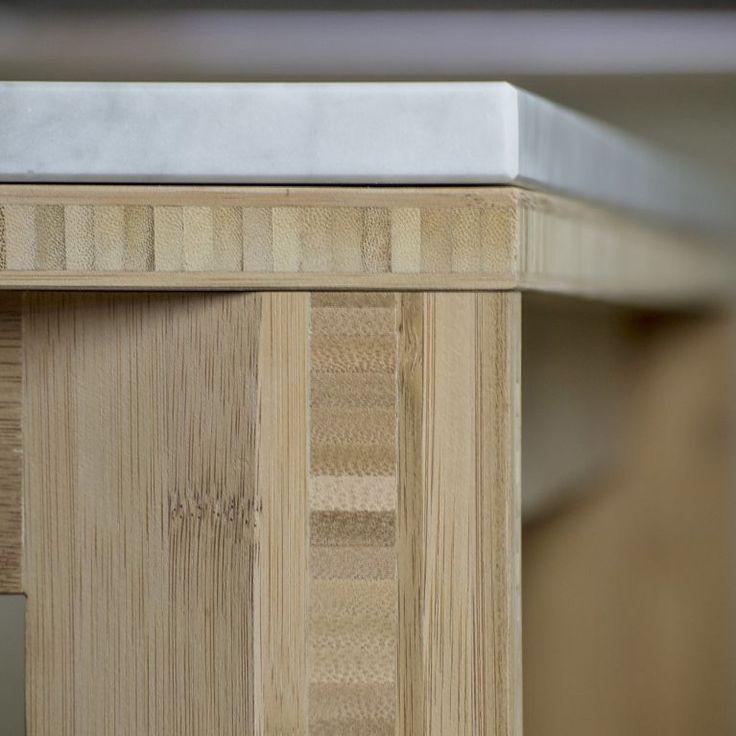 Sovra Dining Table 140.90 | Breccie - #bambou table - bamboe tafel met natuursteen blad - keuken meubel