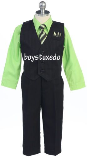 New-Boys-Black-4-Piece-PinStripe-Suit-Vest-Lime-Green-Dress-Shirt-All-Sizes