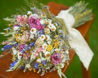 Spring wildflower bridal bouquet pink and purple bridal