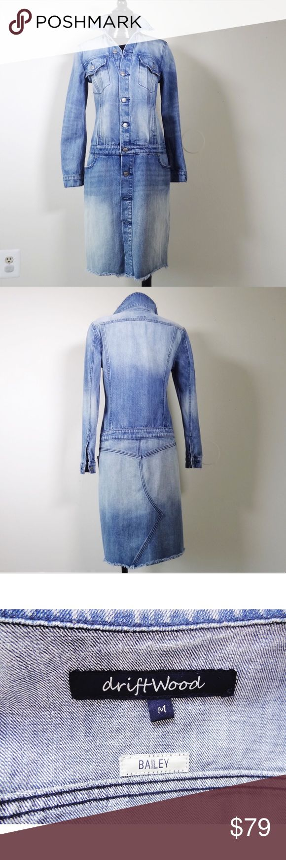 Driftwood Bailey Long sleeve denim Jean dress Med This Driftwood denim dress is in great condition. Lots of details. Lovely washed denim. Style Bailey. Size medium. Lord & Taylor Dresses Long Sleeve