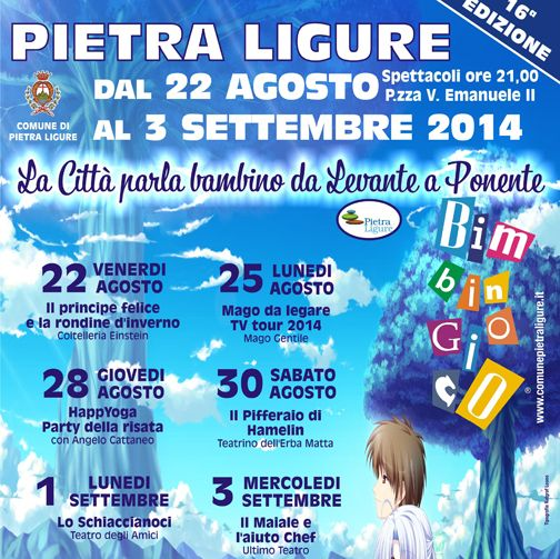 "Inizia oggi, sino al 3 settembre, la sedicesima edizione di ""Bimbi in gioco"" di Pietra Ligure. La città parla bambino, da Levante a Ponente!  Start today, until September 3rd, the sixteenth edition of ""Bimbi in gioco"" in Pietra Ligure.  #EventiLiguria #Liguria"