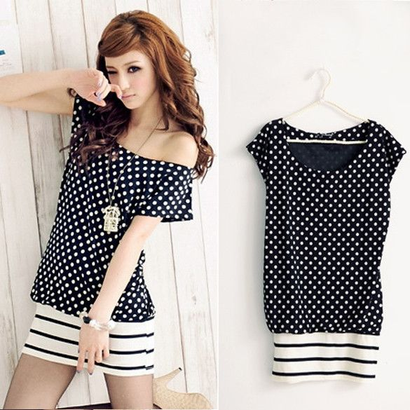 Korean Fashion Women's Summer Stretch Cotton Lovely Dot Hem Stripe Mini Dress