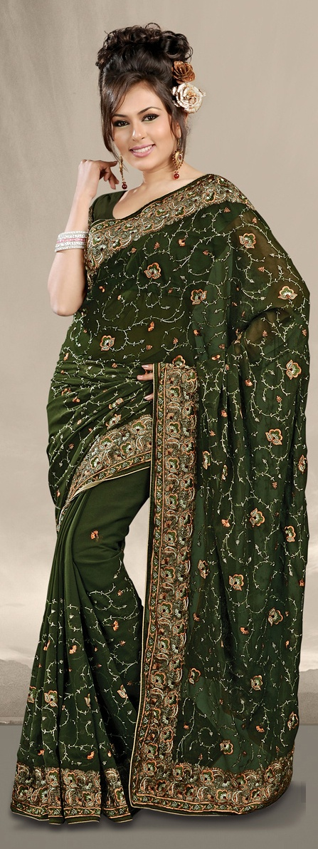 Dark Green Indian Designer Festival Saree with Embroidery