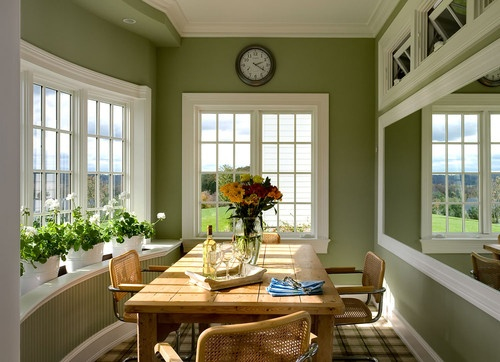 I am in love with this room. {What is the name of this wall color? I love it. Owner says walls are Farrow & Ball --Ball Green.  Wood work is BM Navajo White.}