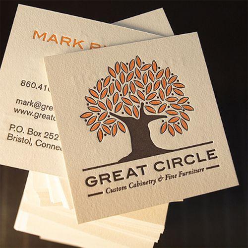 business card.  like shape and letterpress
