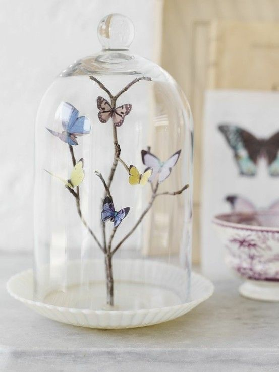 DIY: Butterflies in glass . Just find a twig , some paper or plastic like butterflies , and a glass jar or case . There you have it ! Easy .