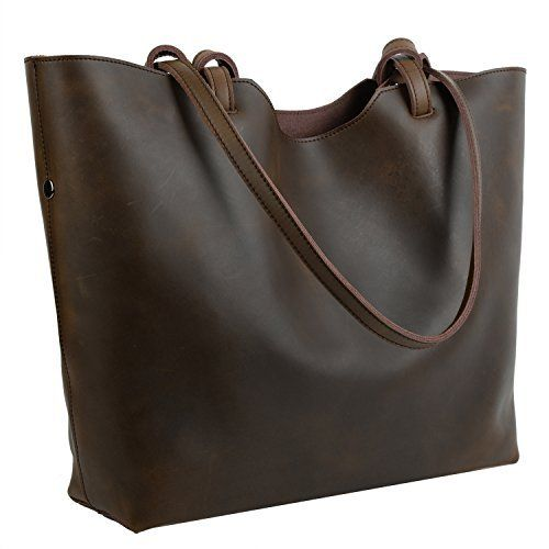 New Trending Shopper Bags: YALUXE Womens Large Capacity Crazy Horse Leather Work Tote Shoulder Bag Coffee Brown. YALUXE Women's Large Capacity Crazy Horse Leather Work Tote Shoulder Bag Coffee Brown   Special Offer: $84.99      466 Reviews Know More About Crazy Horse Leather: 1. Crazy horse leather is a leather that has to be broken in to develop its unique distressed look. Since crazy horse...