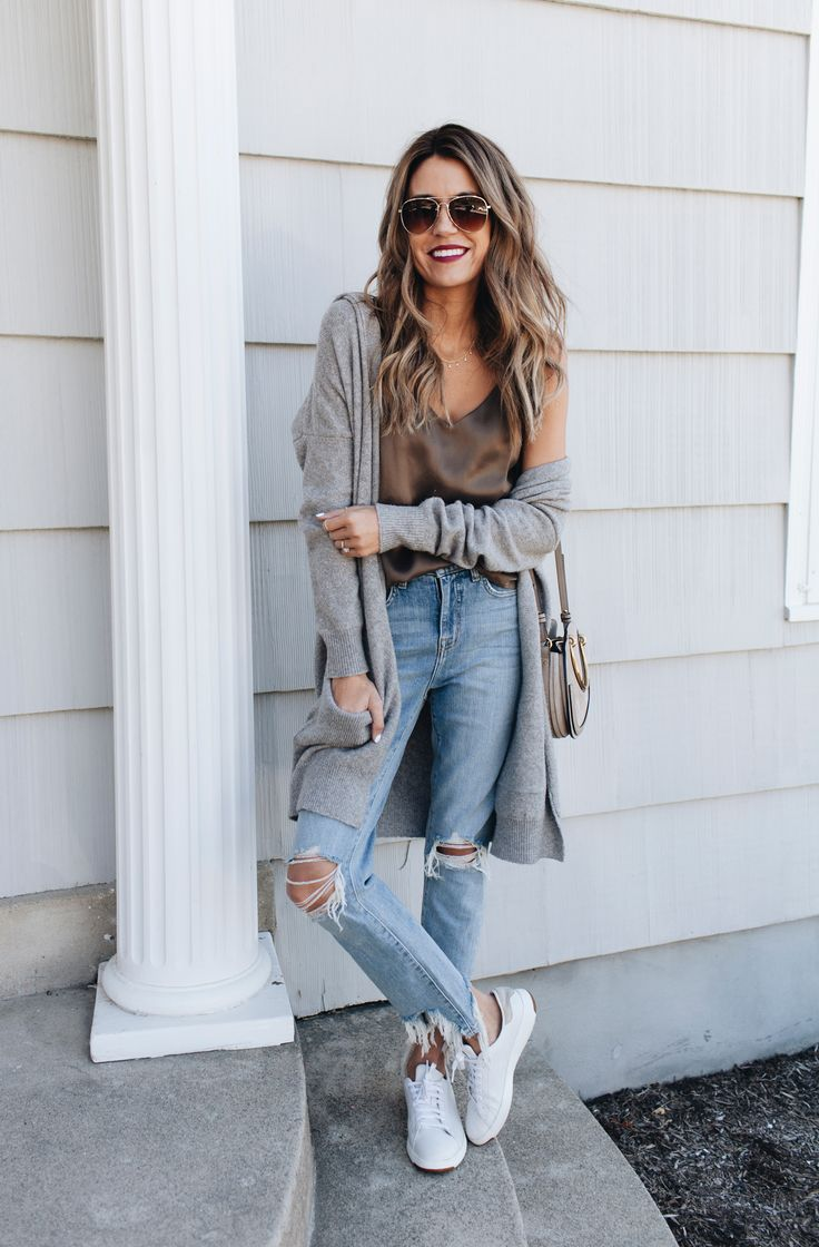Gray knit cardigan + satin top + light wash denim + white sneakers