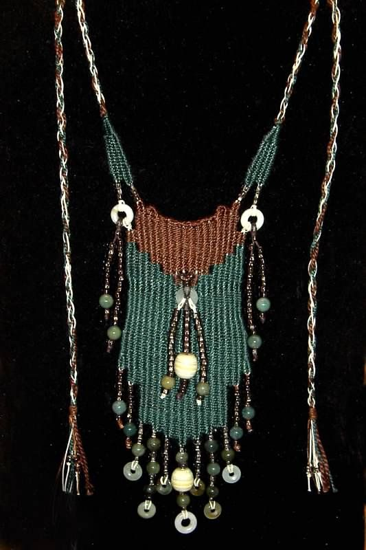 """Jade Falls"" - 2012 - Adjustable Length, Jade Beads and Donuts, SOLD.  Woven by Terri Scache Harris, theravenscache.shutterfly.com   Hand woven, handwoven, weaving, weave, needleweaving, pin weaving, woven necklace, fashion necklace, wearable art, fashion necklace, fiber art."