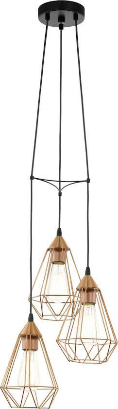 EGLO Vintage Tarbes - Hanglamp - Draadlamp - 3 Lichts - Ø310mm. - Zwart - Koperkleurig