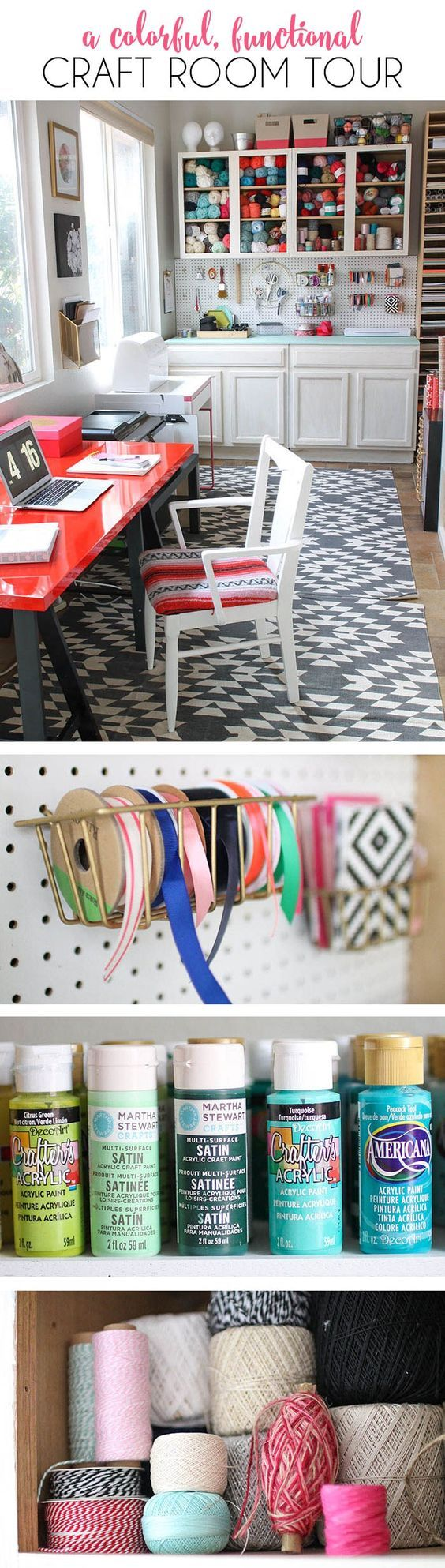 A colorful and functional craft room - lots of fun storage ideas!