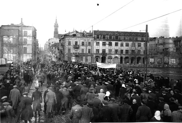Lodz, Poland, A funeral for four Jews murdered by Poles after the war. They survived the death camp only to come home and be murdered by their neighbors