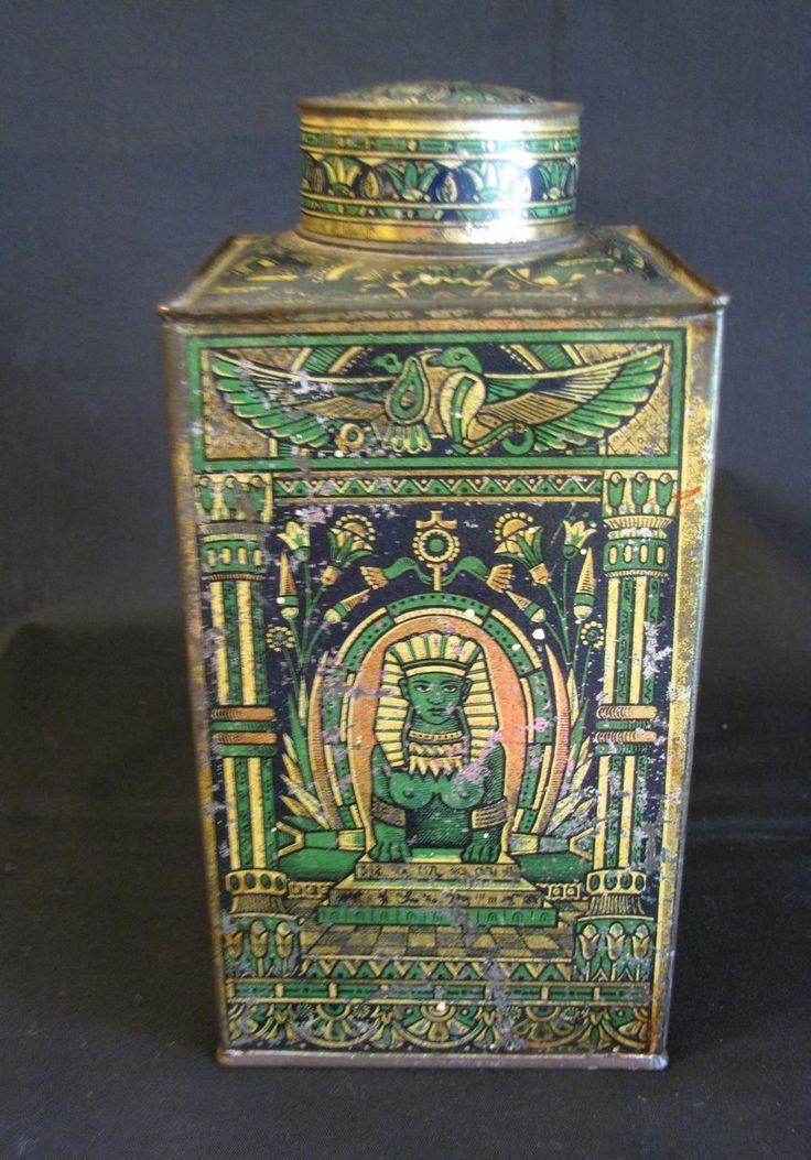 Egyptian design Fry's Cocoa Extract Tin, lithographed in black, green and gold, 1878.rthat would have been handcrafted by the women slaves created for the king or higher socio economic status.  I love the detail that is represented in such a small artefact. this is one beautiful Ja