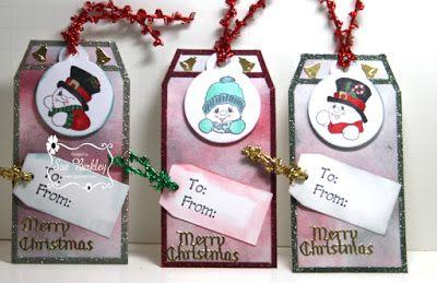 "ONECRAZYSTAMPER.COM: Merry Christmas Tags by Sue using High Hopes Stamps ""Snowman Mini Set"" (TT006UM)"