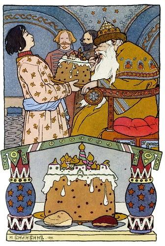 Bilibin Die Froschkönigin - Ivan zeigt seinem Vater, dem Zaren, den Kuchen, den Maria Morevna gebacken hat (oder hat backen lassen)
