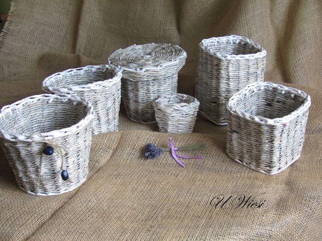 Kosze, koszyki, osłonki na doniczki, paper basket, paper wicker, Papierowa wiklina, pojemniki z pokrywkami, wiklina papierowa