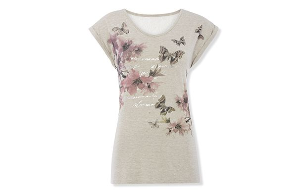 "Butterfly Print Top. ""This whimsical t-shirt is a pretty choice for weekend dressing."""