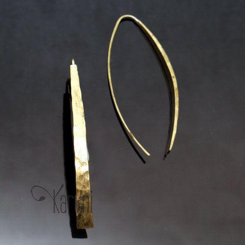 Bijoux Ethniques Africains Boucles d'Oreilles Peul Fulani Bronze Doré Longues Bandes Courbes