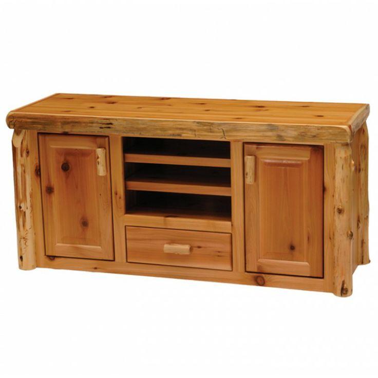 Cedar Widescreen TV Stand by Fireside Lodge | Cedar Log TV Stand Model: 14260