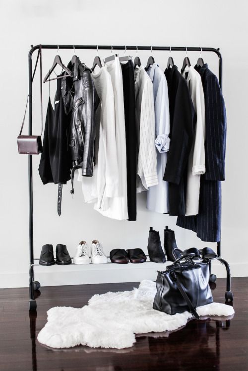 Now this really is a minimalist wardrobe, I think I would get a bit fed up with no colour but if monochrome is your thing....