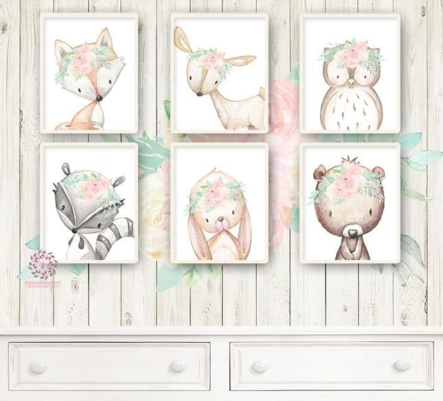 6 Deer Fox Bunny Rabbit Bear Wall Art Print Owl Raccoon Boho Woodland Mint  Blush Pink