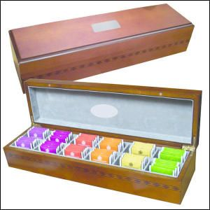 Tea Gift Pack. The best tea gift pack to please any tea lover! Attractive Birchwood case contains fixed set of 72 Twinings tea bags in various flavours. Box is lined with Felt and has magnetic closures. Brown