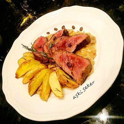 Aşk-ı Şeker: KAHVELİ BONFİLE & MANTARLI KAHVE SOSU Coffee steak and mushroom coffee sauce recipe yemek tarifleri et yemekleri