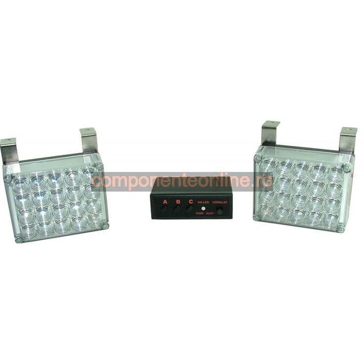 Stroboscop cu 5X4 LED-uri, lumina rosie-albastra, 12V - 118098