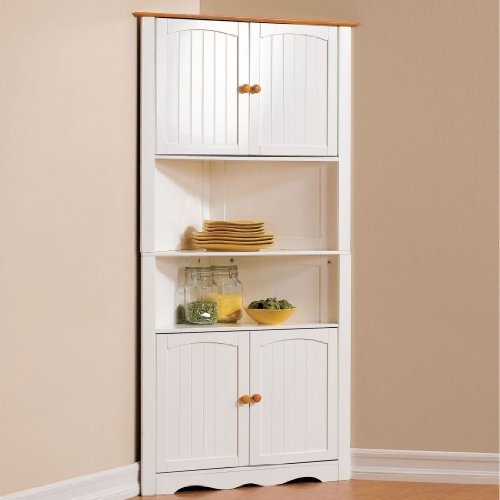 Best Brylanehome Country Kitchen Corner Cabinet White Honey 640 x 480