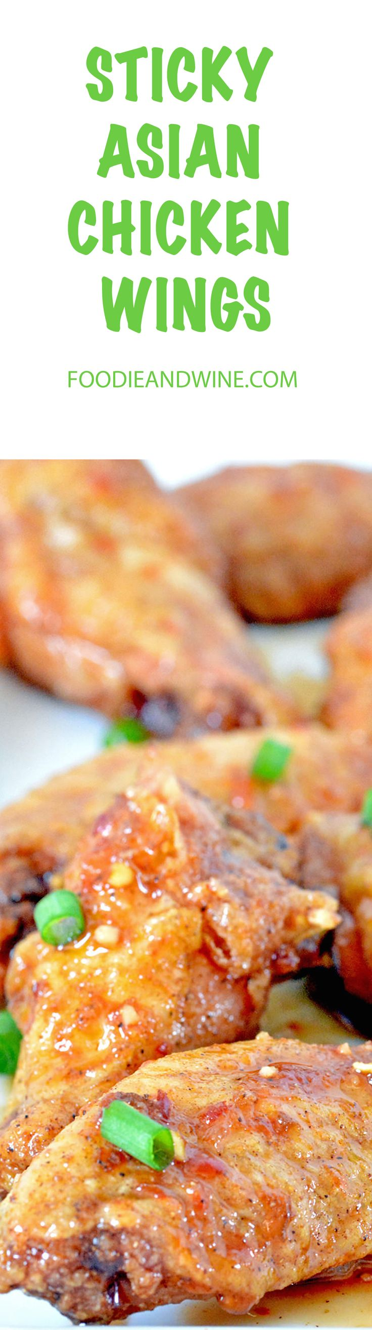 Sticky Asian Oven Baked Chicken Wings! Perfect recipe for football season or holiday parties! Crispy wings covered in honey, soy sauce and garlic.