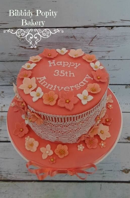 Th Birthday Cake Decorations In Coral Colour
