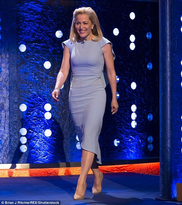 Not feeling blue: The Dana Scully actress looked sensational in a pale blue midi dress for...