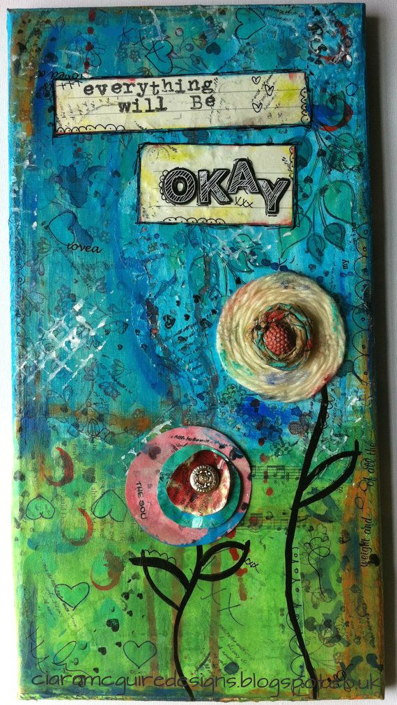 Jute Flower? Paper layer flowers?   Mixed Media Collage Canvas   Everything by CiaraMcGuireDesigns