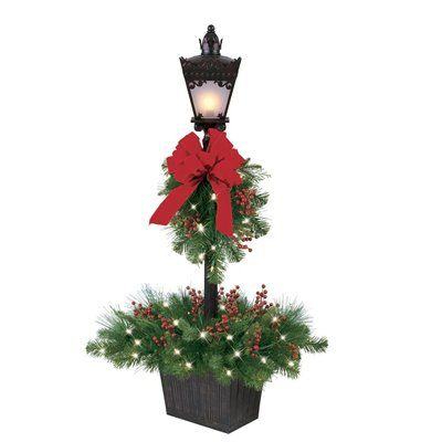 Ft Decorated Pre Lit Artificial Pine Lamp Post With Clear