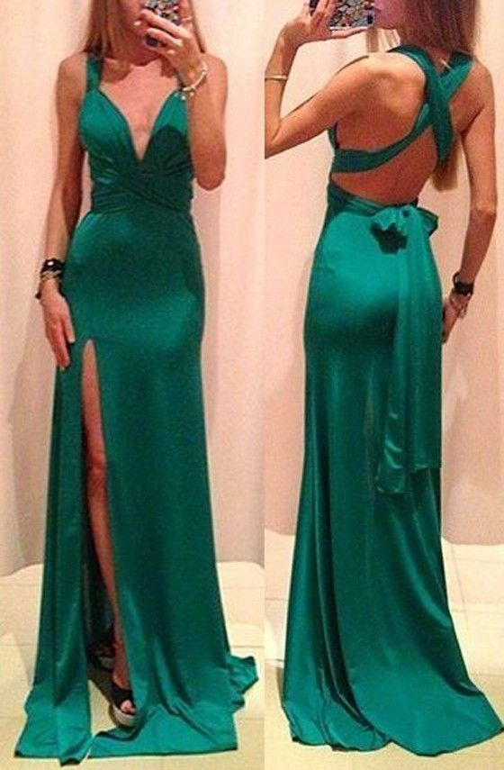 $25.00!! Green Plain Cross Back Tie Back Plunging Neckline Thigh High Side Slits Maxi Dress