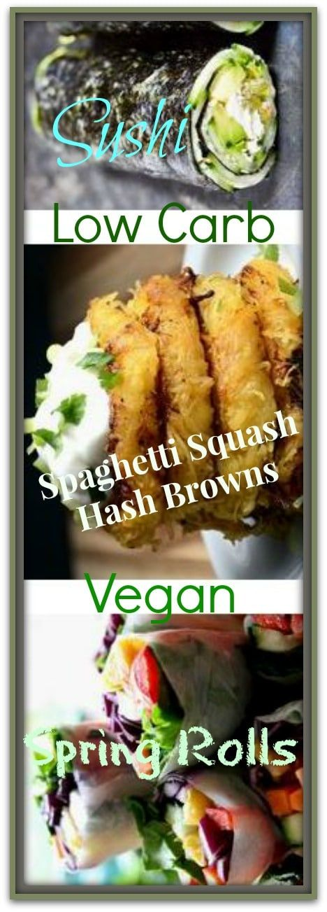 low carb vegan recipes: Cucumber and Avocado Quick Nori Roll Recipe + Spaghetti Squash Hash Browns + Easy Vegan Spring Rolls with Peanut Sauce  Please Repin #carbswitch