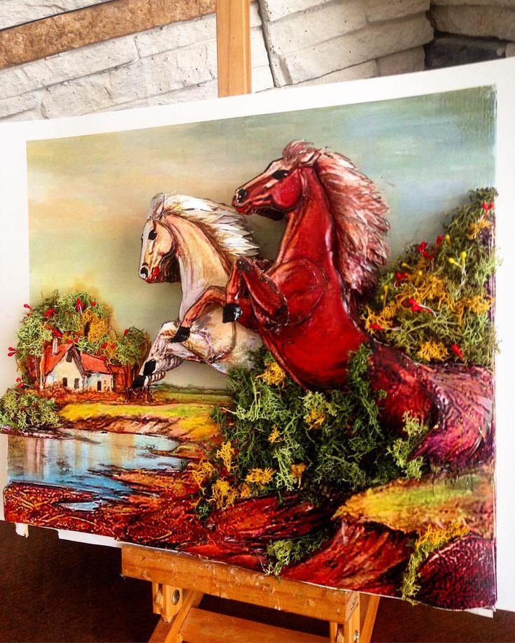 Özel sipariş, #at resmimiz çerçeveye hazır #horse #yosun #moss #sanat #atölye #rölyef #rolyef #kağ - rolyefsanatevi