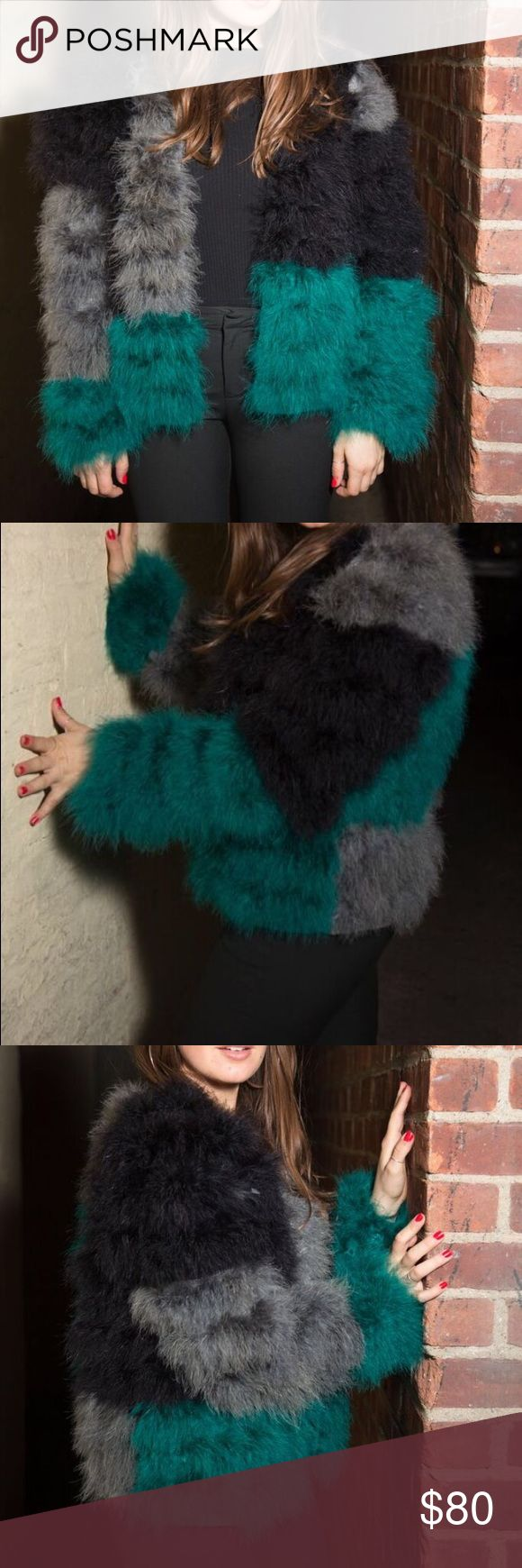 Fluffy Feather Jacket Used once! Topshop Jackets & Coats