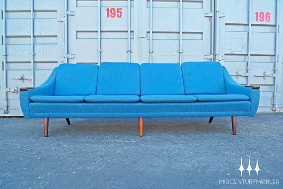 Danish Modern Mid Century Cobalt Wool & Rosewood Couch