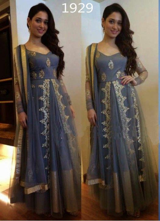 Tamannah Bhatia Grey Colour Net Anarkali Suit