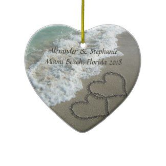 Romantic Hearts on the Beach Christmas Ornament