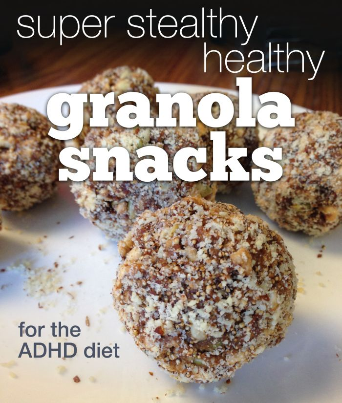 """Super stealthy healthy ADHD recipes: GRANOLASNACKS - """"Between the additives, food sensitivities, added sugars and price tag for gluten-free options, it's a big """"NO THANKS"""" to the pre-packaged bars. But the beauty of granola bars is that they're fairly easy to make at home."""" Variations on a basic recipe to create snacks tailored for your family's taste and dietary restrictions."""