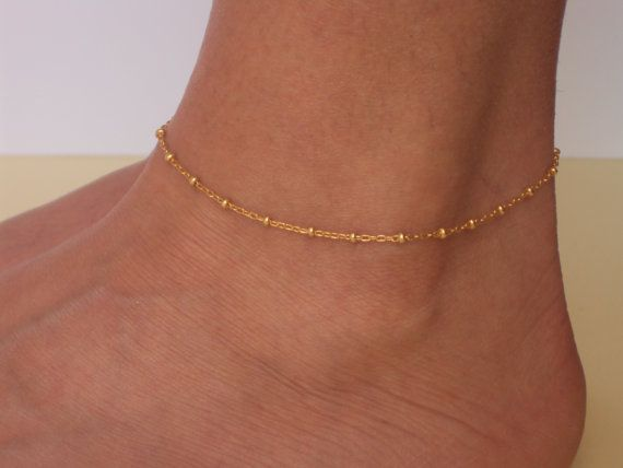 Delicate Gold Anklet  Ankle Bracelet  by VasiaAccessories on Etsy