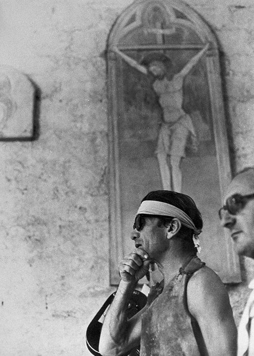 Pier Paolo Pasolini on the set of The Decameron.