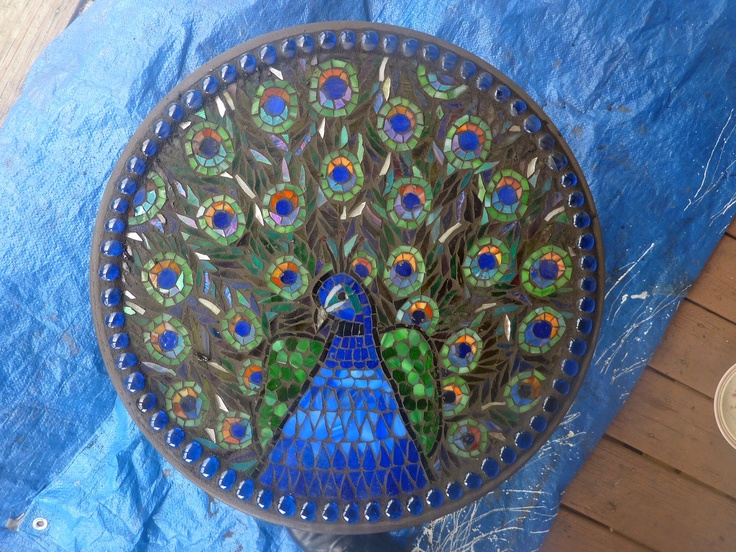 peacock mosaic table...Oh My Gosh!! How cool would this be???
